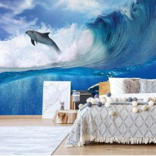 """Photo wallpaper """"Dolphins Sea Wave Nature"""""""