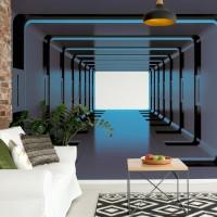 "Photo wallpaper ""3D Tunnel Illusion Blue"""