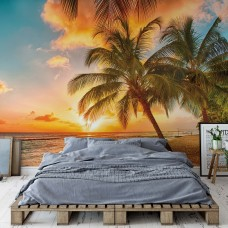 "Photo wallpaper ""Tropical Beach Sunset Palm Trees"""