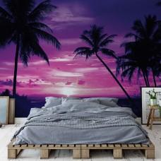 "Photo wallpaper ""Beach Tropical Sunset Purple Palms"""