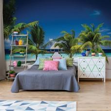 """Photo wallpaper """"Beach Pier Sea Sand Tropical Palms"""""""