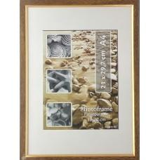 Plastikinis foto rėmelis - su blizgia juoste A4 21x29.7 cm (smėlio, ruda)